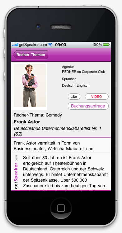 Comedy-Speaker Frank-Astor iPhone-App