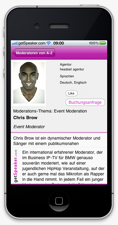 Event Moderator Chris Brow iPhone-App