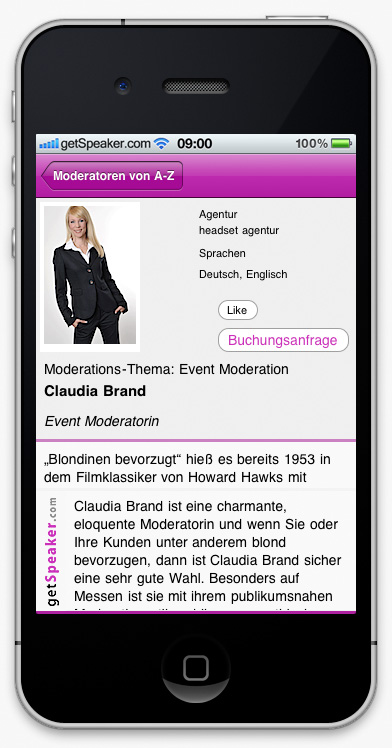 Event Moderatorin Claudia Brand iPhone-App