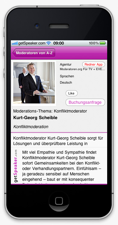 Konfliktmoderator Kurt-Georg Scheible iPhone-App