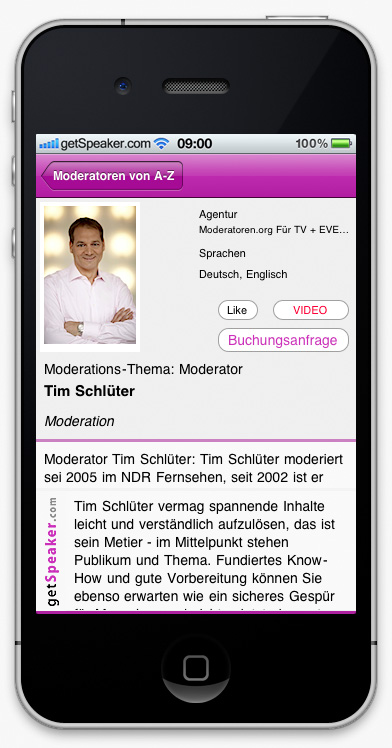 Speaker Moderation Tim Schlüter iPhone-App