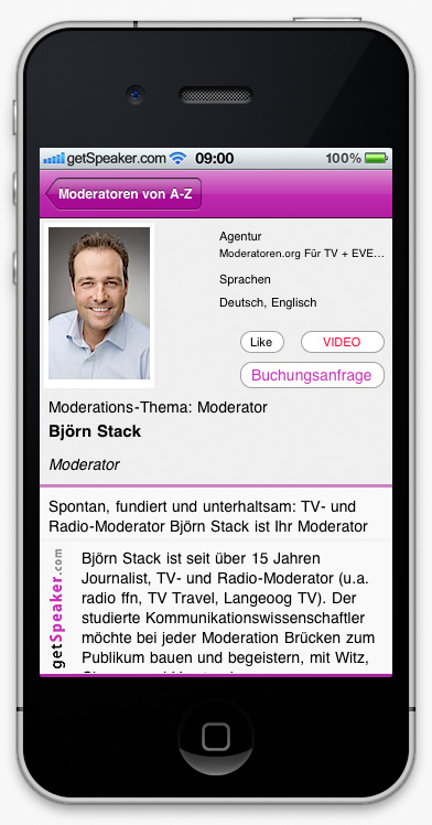 Speaker Moderation Björn Stack iPhone-App