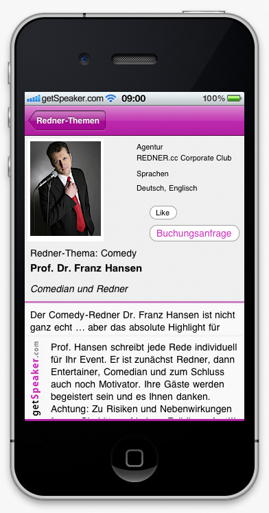 Speaker Comedy Prof. Dr. Franz Hansen iPhone-App