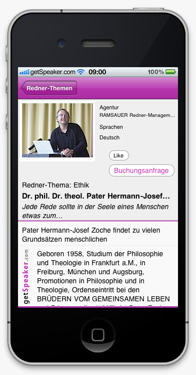 Speaker Ethik Dr. phil. Dr. theol. Pater Hermann-Josef Zoche iPhone-App