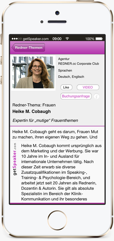 Speaker Frauen Heike M. Cobaugh iPhone-App getSpeaker