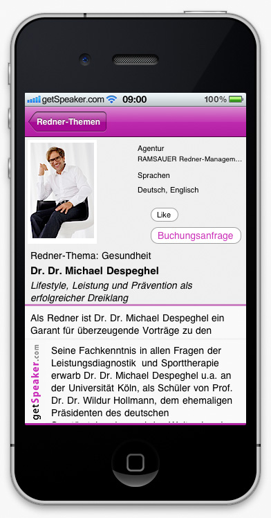 Speaker Gesellschaft Dr. Dr. Michael Despeghel iPhone-App