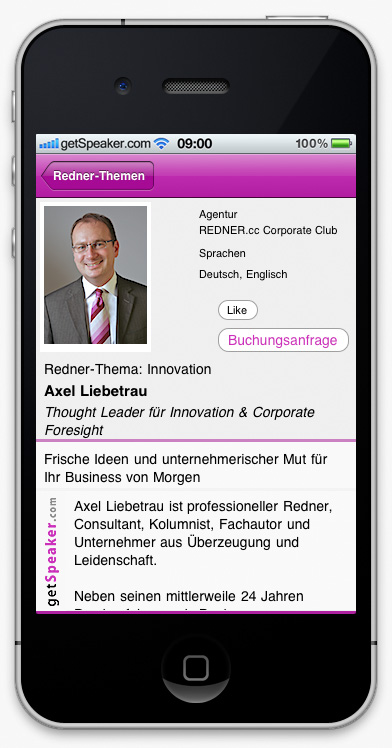 Speaker Innovation Axel Liebetrau iPhone-App