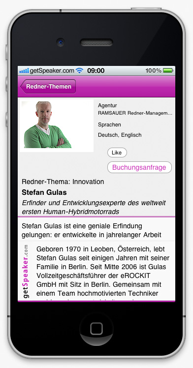 Speaker Innovation Stefan Gulas iPhone-App