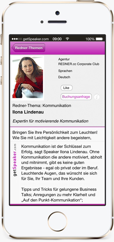 Speaker Kommunikation Ilona Lindenau iPhone-App getSpeaker