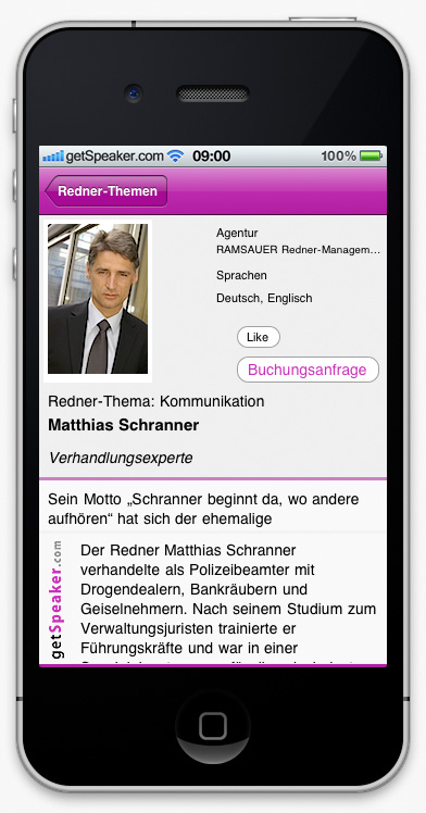 Speaker Kommunikation Matthias Schranner iPhone-App