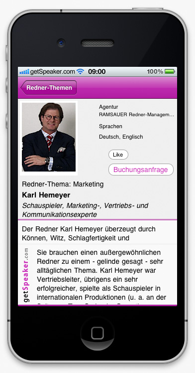 Speaker Marketing Karl Hemeyer iPhone-App