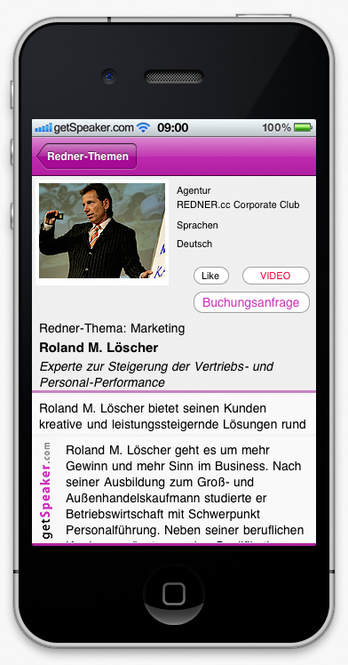 Speaker Marketing Roland M. Löscher iPhone-App