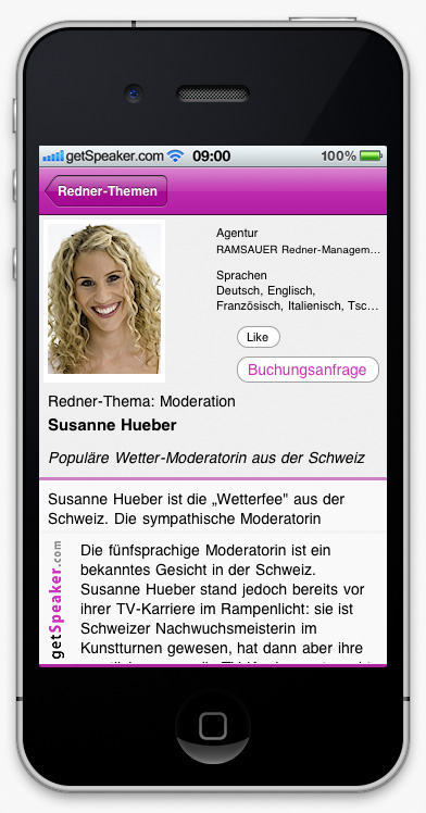 Speaker Moderation Susanne Hueber iPhone-App