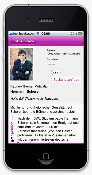 Speaker Motivation Hermann Scherer iPhone-App
