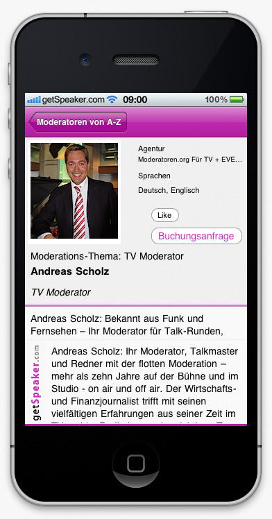 TV Moderator Andreas Scholz iPhone-App