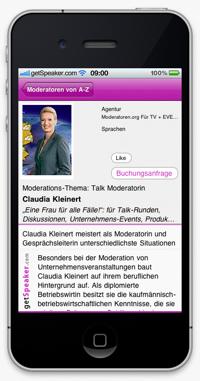 Talk Moderatorin Claudia Kleinert iPhone-App